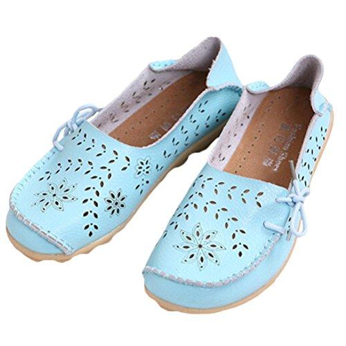 2 Chaussures Flach Pumpe Cuir Style Clair Rétro Femme Casual MatchLife Bleu Rywq8Bpw