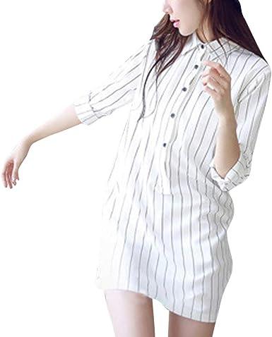 catmoew Mujer Vestido Camisero Camisa Manga Larga con Botones Moda Vestido Casual Camisa Vestido Túnica Vestidos sólidos Sueltos Vestidos Vestidos ...