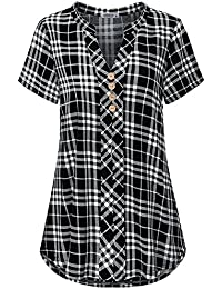 Womens Notch Neck Short Sleeve Plaid Shirts Checkered Blouse Tops