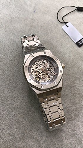 Luxury Brand Stainless Steel Silver Color Partially Black Color dial Automatic Movement Skeleton Oak Watch -