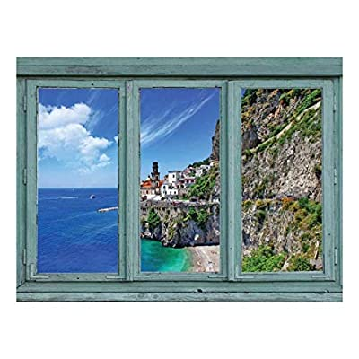 Wall26 - Cliffside Houses Overlooking a Beautiful Ocean View - Seaside Homes in Idyllic Setting - Wall Mural, Removable Sticker, Home Decor - 24x32 inches