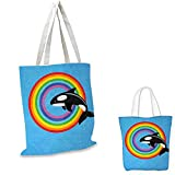 Whale Canvas Shoulder Bag Modern Design with a Killer Whale Jumping into a