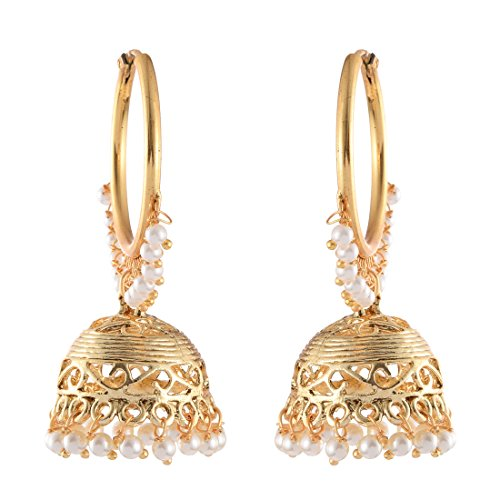 Vaibhav Bali Earrings With Pearls Traditional In Golden Colour