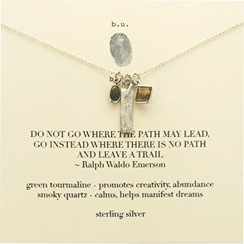 b.u. Emerson Quote Leave A Trail Gemstone Sterling Silver Charm Necklace 16-18