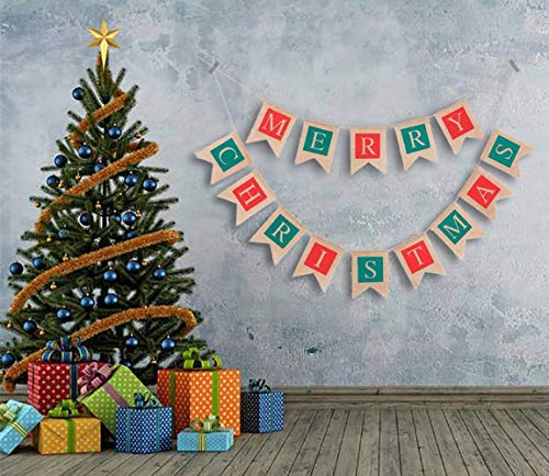 Burlap Bunting Banner Merry Christmas Hanging Garland Flags Party Decor