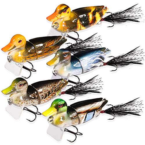 TRUSCEND Fishing Lures Baits Tackle 5PCS Topwater Lures Duck Fishing Baits with Fishing Box Treble Hooks Duck Lures Baits