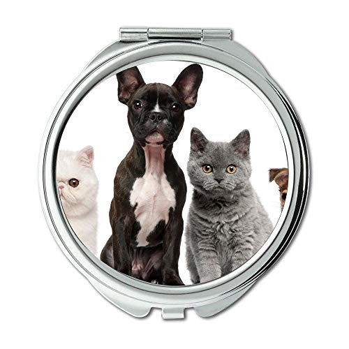 Mirror,Small Mirror,Bulldog Puppies dogs pets cute dog,pocket mirror,1 X 2X Magnifying ()