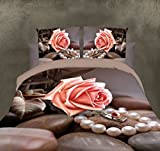 BELOMODA 5D Pink Rose With Fancy Pearl Necklace And Stone Print Single Size Bed Sheet With 1 Pillow Cover With Zipper Pouch