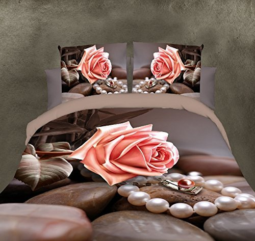 BELOMODA 5D Pink Rose With Fancy Pearl Necklace And Stone Print Single Size Bed Sheet With 1 Pillow Cover With Zipper Pouch by BELOMODA