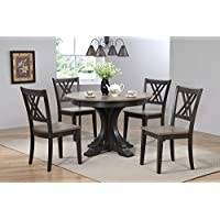 Iconic Furniture 5 Piece Deco Double X-Back Dining Set, Antique Grey Black Stone, 45 x 45 x 63