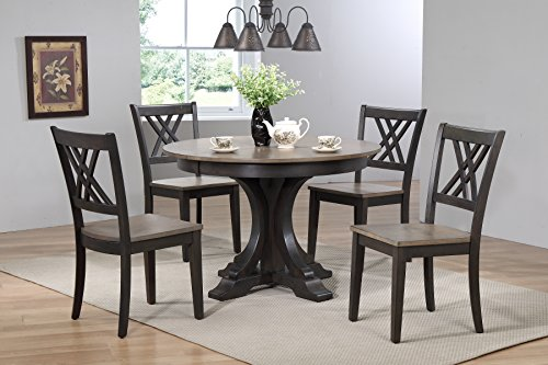 "Iconic Furniture 5 Piece Deco Double X-Back Dining Set, Antique Grey Black Stone, 45"" x 45"" x 63"""