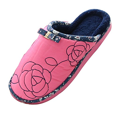 2015 New Blubi Womens Cold-weather Rose Warm Fleece Scuff Slippers House Slippers Rose 78FRG