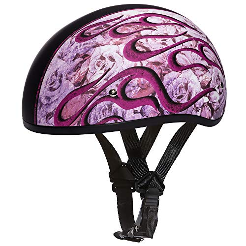 Daytona Helmets Motorcycle Half Helmet Skull Cap- Flames Pink 100% DOT Approved