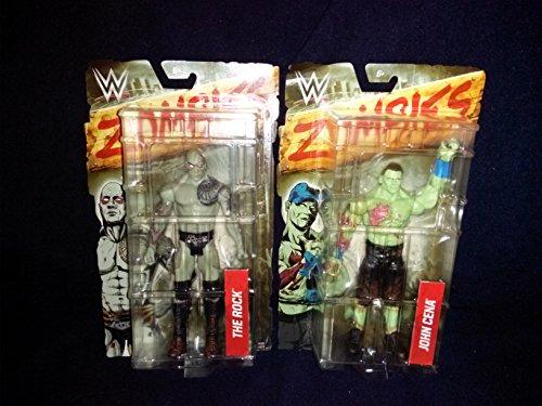 (WWE Zombie Action Figure 2 Pc Set: The Rock Zombie Figurine and John Cena Zombie Figurine)