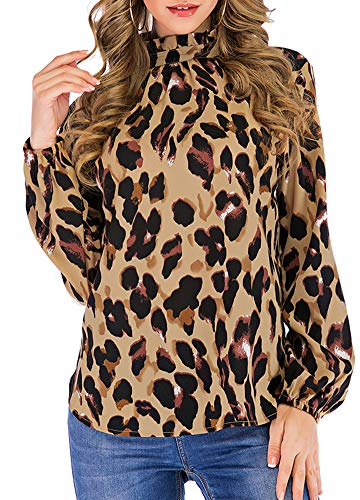 Romacci Women Leopard Print Blouse Shirts Ruffles Stand Collar Turtleneck Long Sleeves Vintage Casual Tops