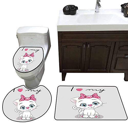 3 Piece Bathroom Rug Set Kitten Cute Cartoon Domestic White Cat Pink Cheeks Fluffy I Love My Pet Themed Print Customized Grey White Pink -