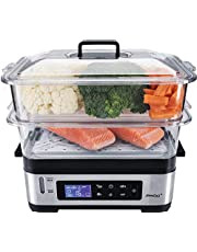 Steba DG 2 Elektronische stoomkoker, variabele ovenruimte (3 - 6 liter), BPA-vrij, incl. rijstinzet, LCD-display met 5 automatische programma's, 30 minuten timer met signaal en einduitschakeling