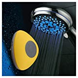 HotelSpa Ultra-Luxury 7-Setting 7 color LED Handheld Shower-Head with Bonus New Slimline Waterproof Bluetooth Shower Speaker available in 5 colors (YELLOW) Great Gift Pack for Holidays!