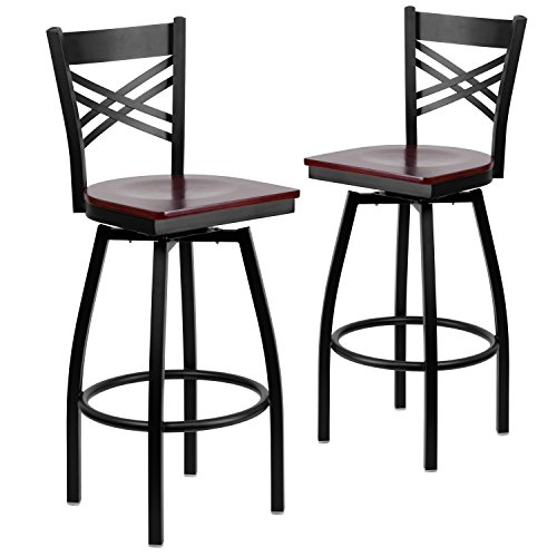 Flash Furniture 2 Pk. HERCULES Series Black ''X'' Back Swivel Metal Barstool - Mahogany Wood Seat - Mahogany Bar Stools