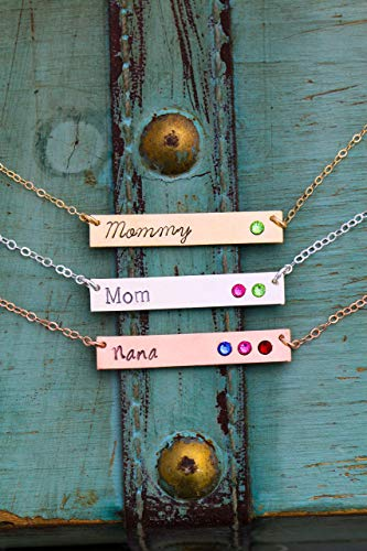 Mommy Tag Necklace - Sterling Silver Mother Birthstone Bar Necklace - RBB_19 ROI - Personalized Name - 14K Rose Gold Filled - Custom Tiny Birth Month Crystal - Horizontal Mom Gift