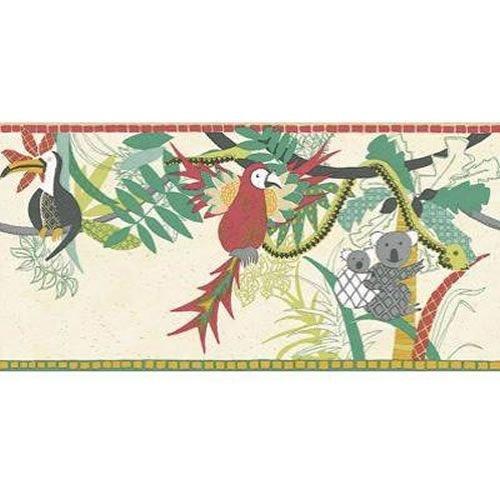 Large Harlequin Wallpaper - Red / Jade / Cream - 70957 - Tropical Heaven - Far Far Away - Harlequin Wallpaper BORDER