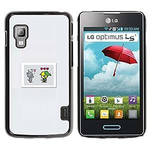 CASECO - LG Optimus L5 II Dual - Cute Comic - Delgado Negro Plástico caso cubierta Shell Armor Funda Case Cover - Lindo Comic