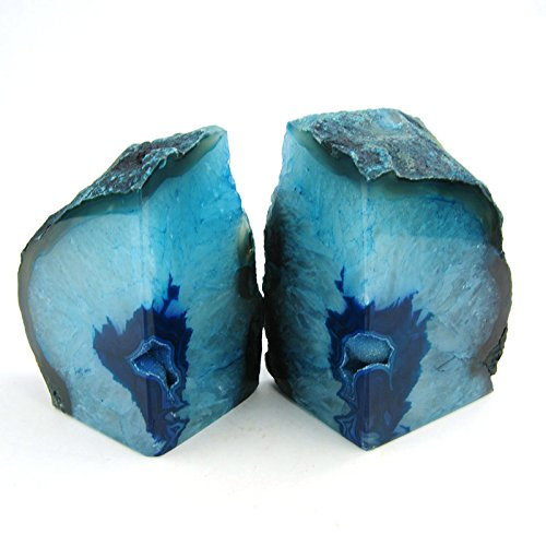 JIC Gem Polished Dyed Green Agate Bookends - 1 Pair - 2 to 3 Lbs (Large Image)