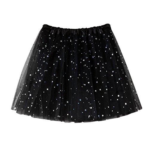 Women Short Skirt Tutu Vintage Ballet Petticoat Pleated Tulle Classic High Waist Lace Mini Skirts (Free Size, Black)]()
