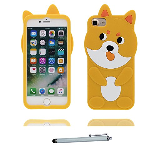 """Coque iPhone 6s Plus Cover TPU Flexible-3D Cartoon Chien jaune, iPhone 6 Plus Étui 5.5"""" iPhone 6S Plus Case 5.5"""" Shock Poof Chiot Dog Cute et stylet"""