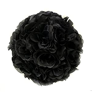 Ben Collection Fabric Artificial Flowers Silk Rose Pomander Wedding Party Home Decoration Kissing Ball Trendy Color Simulation Flower (Black, 25cm) 109