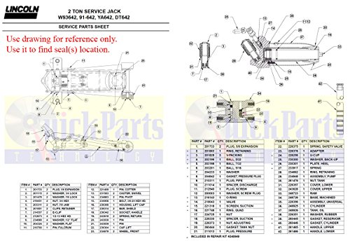 Floor Jack Seal Kit for 104 11612, 4CWJ6, 4CWJ7, 640, 642, 91-642, 91-652,  93642, 93652, 95642, 95652, B67399, C93642C, CJ4000, DT642, HW93642,