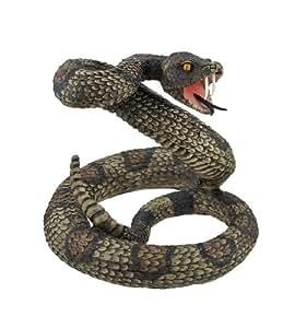 Striking Diamondback Rattlesnake Snake Statue Figurine by Private Label