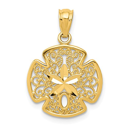 Yellow Aqua Gem 14kt Gold (14k Yellow Gold Filigree Sand Dollar Sea Star Starfish Pendant Charm Necklace Shore Shell Fine Jewelry Gifts For Women For Her)