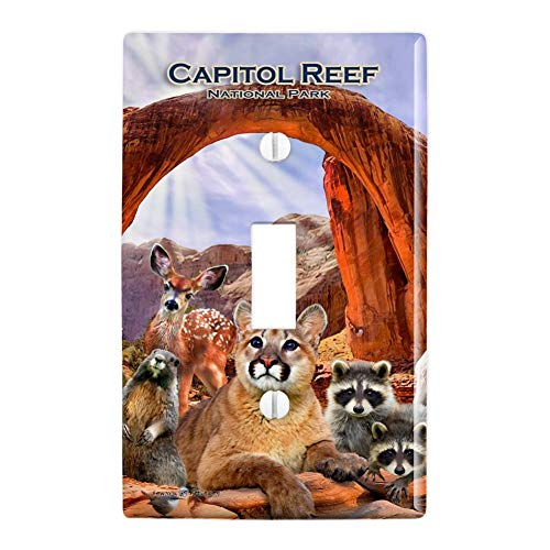 (GRAPHICS & MORE Capitol Reef National Park Utah UT Animals Cougar Prairie Dog Deer Raccoon Plastic Wall Decor Toggle Light Switch Plate Cover)