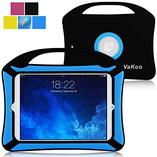 Vakoo Kids Fun Shockproof Silicone Light Weight Handle Case for iPad Mini 3,iPad Mini Retina Display and iPad Mini (Black/Blue)