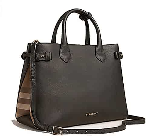 4672de3cd77 Tote Bag Handbag Authentic Burberry The Medium Banner in Leather and House  Check Black Item 39589781