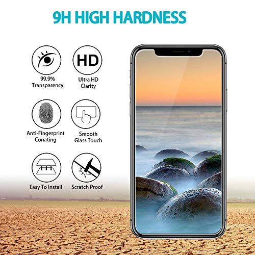 HPTech iPhone Xs Max Screen Protector - (2-Pack) Tempered Glass Film for  Apple iPhone Xs Max [6 5-inch] Bubble Free 9H Hardness with Lifetime
