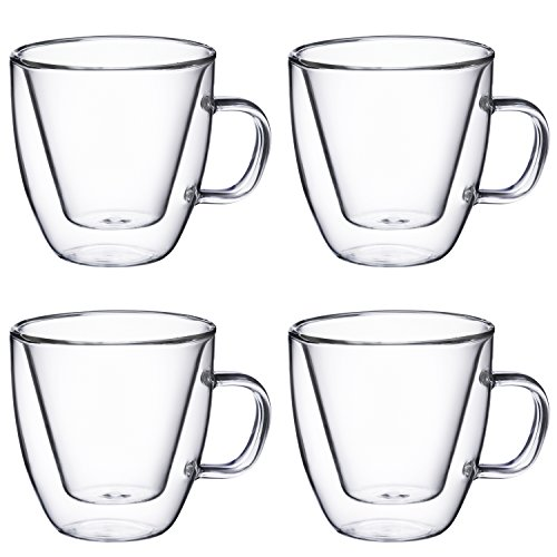 Double Wall Espresso Glass with Handle, for Tea, Whiskey, and More, By Bruntmor (4 oz, Set of 4) by Bruntmor (Image #1)
