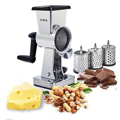 Rotary Cheese Grater Stainless Steel Chocolate Drum Slicer Shredder Cutter Nut Grinder with 3 Interchangeable Sharp Cylinders Drums Slicer