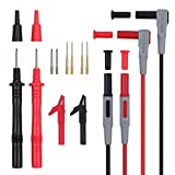 Proster 12 in 1 Multimeter Probe Test Lead Kit with Alligator Clips Replaceable Automotive Multimeter Leads Clamp Meter Leads Electronic Multimeter Test Leads
