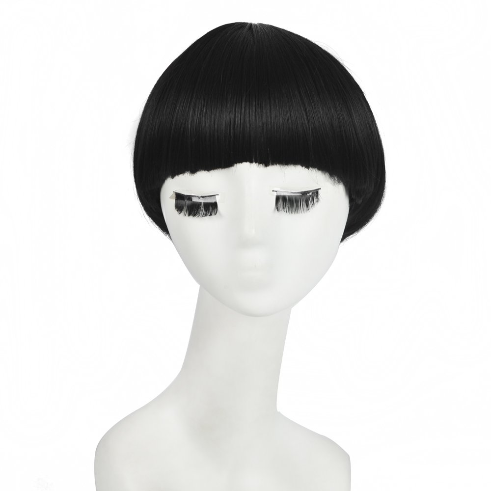 Siyi Black Short Bob Synthetic Wig Bowl Cut Mushroom Full Bang