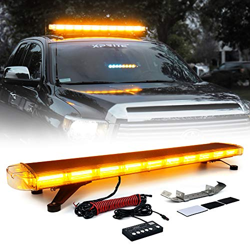 Xprite Amber/Yellow 88 LED 220W 47 COB High Intensity 28 Modes Super Bright Top Roof Strobe Light Bar