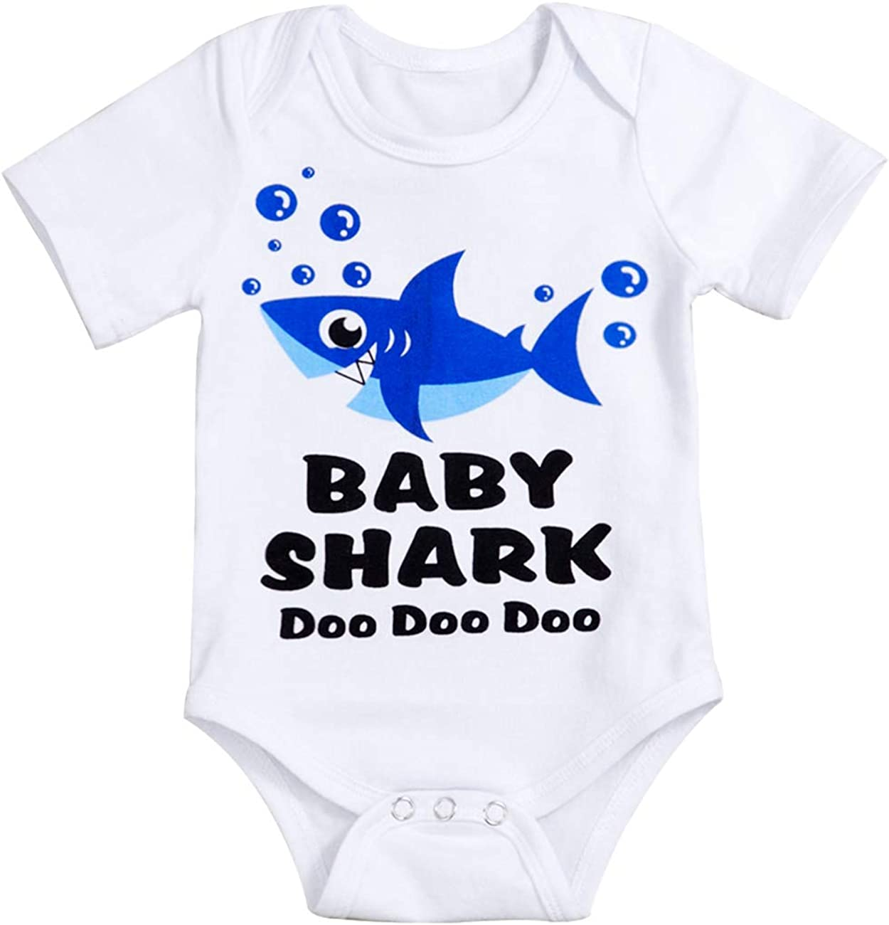 Newborn Baby Girls Boys Clothes Little Shark Print Short Sleeve Onesie Bodysuit Romper Jumpsuit