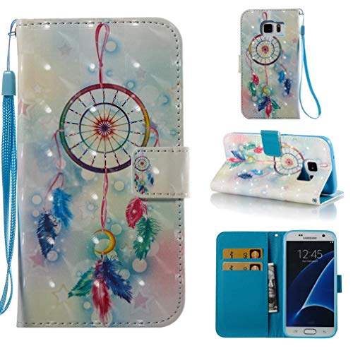 Case for Galaxy S7,Pu-Leather 3D Printing Wallet Case [Durable] Flip Kickstand with Card Holder & Wrist Strap Shockproof Slim Full Protective Case Compatible with Samsung Galaxy S7 -Dreamcatcher ()