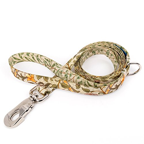 (Buttonsmith William Morris Daffodil Dog Leash, 5 ft Length, Medium Width - Fadeproof Permanently Bonded Printing, Extra Heavy Duty Quick Clasp, Resistant to Odors & Mildew, 100% Made in USA)