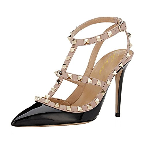 Lutalica Women Sexy Ankle Straps Sandals High Heel Pointed Toe Studded Stiletto Patent Black Shoes Size 8 US