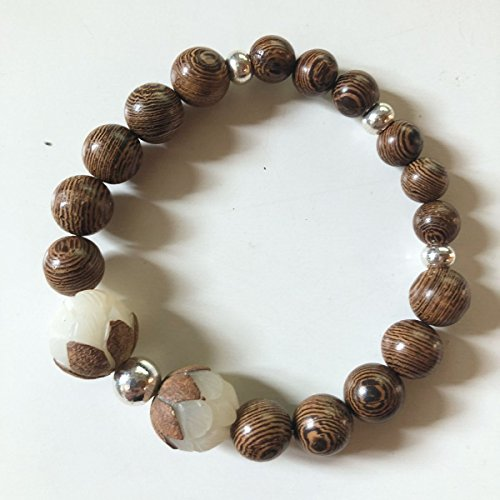 (Modern Metaphysical Hand Carved Bodhi Lotus Flower Round with Wenge Wood Beads - Silver Accents - Mala - 7.5