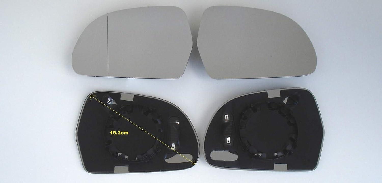 rechts 2er Set beheizt Ersatzglas f/ür Aussenspiegel elektrisch und manuell ACHTUNG unbedingt Masse im Bild beachten Spiegel Spiegelglas links