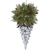 """Kurt Adler 3.11"""" Acrylic Icicle Ornament with Holly"""