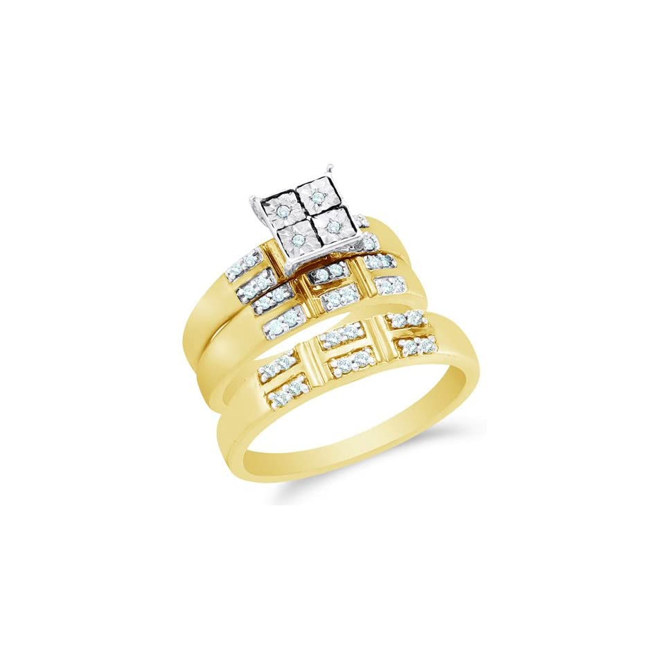 Size 6   10K Two Tone Gold Diamond Mens and Ladies His & Hers Trio 3 Three Ring Bridal Matching Engagement Wedding Ring Band Set   Square Princess Shape Center Setting w/ Pave Channel Set Round Diamonds   (1/4 cttw)   SEE PRODUCT DESCRIPTION TO CHOOSE BO